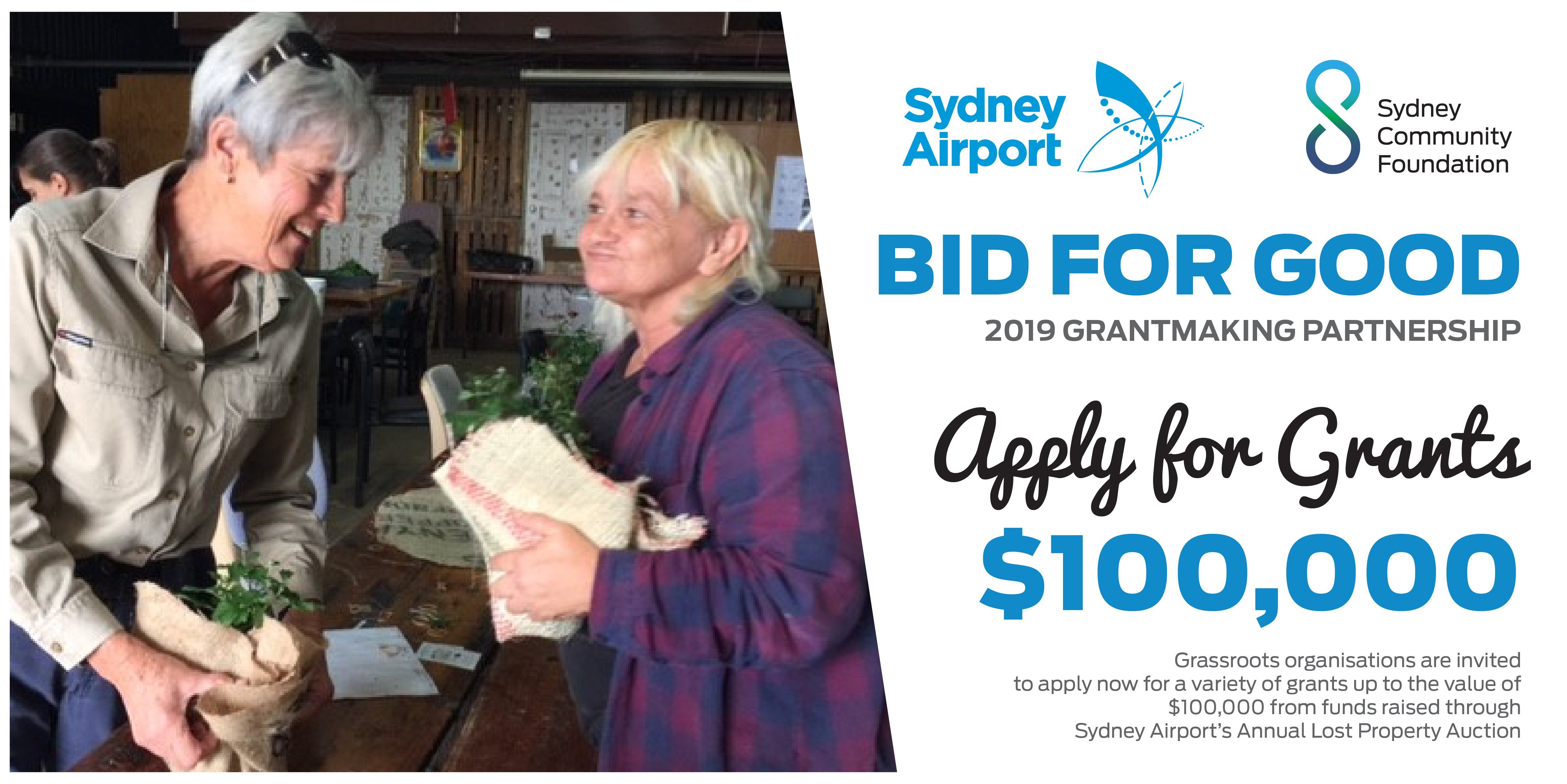 Sydney Airport, Sydney Community Foundation, Cana Communities, Bid for Good, Local Sydney Charity
